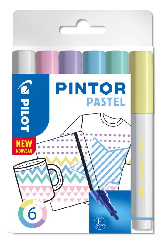Fiberpennset Pilot Pintor - Set Pastel Mix -x6- Fine - Blå Gul Violett Grön Rosa Vit