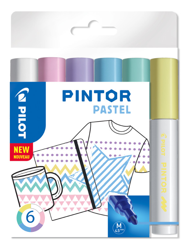 Fiberpennset Pilot Pintor - Set Pastel Mix -x6- Medium - Blå Gul Violett Grön Rosa Vit
