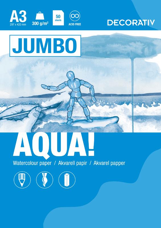 Akvarellblock AQUA JUMBO A3 300g 50 ark