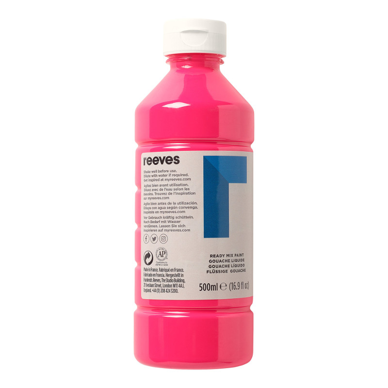Skolfärg Redimix Reeves Intro 500 ml Fluo pink