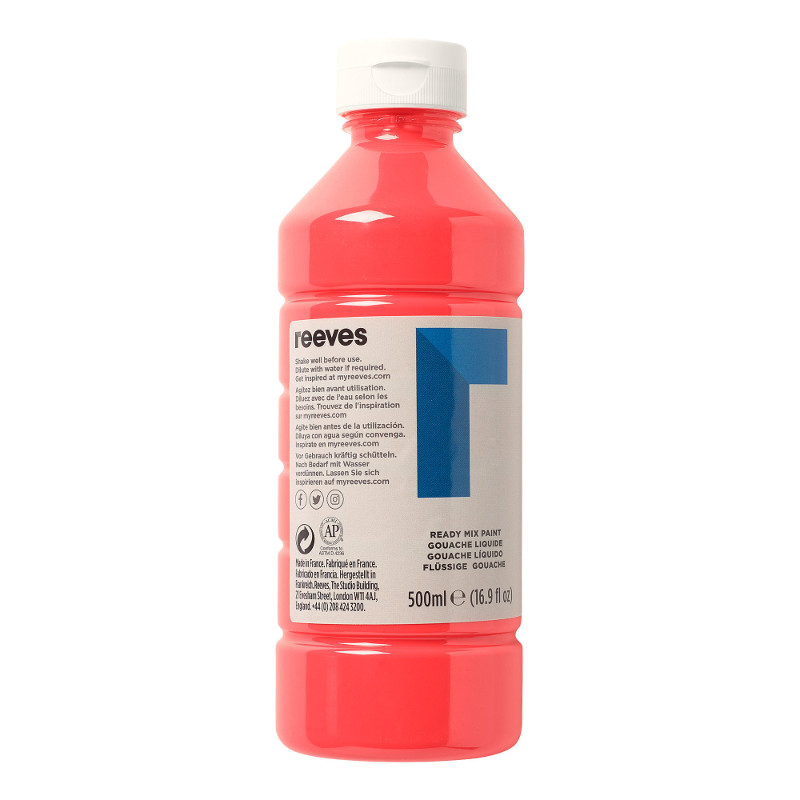 Skolfärg Redimix Reeves Intro 500 ml Fluo red