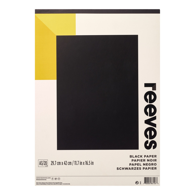 Färgat block Reeves A3 Black Paper 120g 20ark (6F)