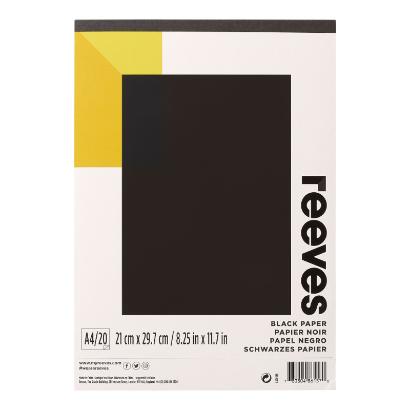 Färgat block Reeves A4 Black Paper120g 20ark(6F)