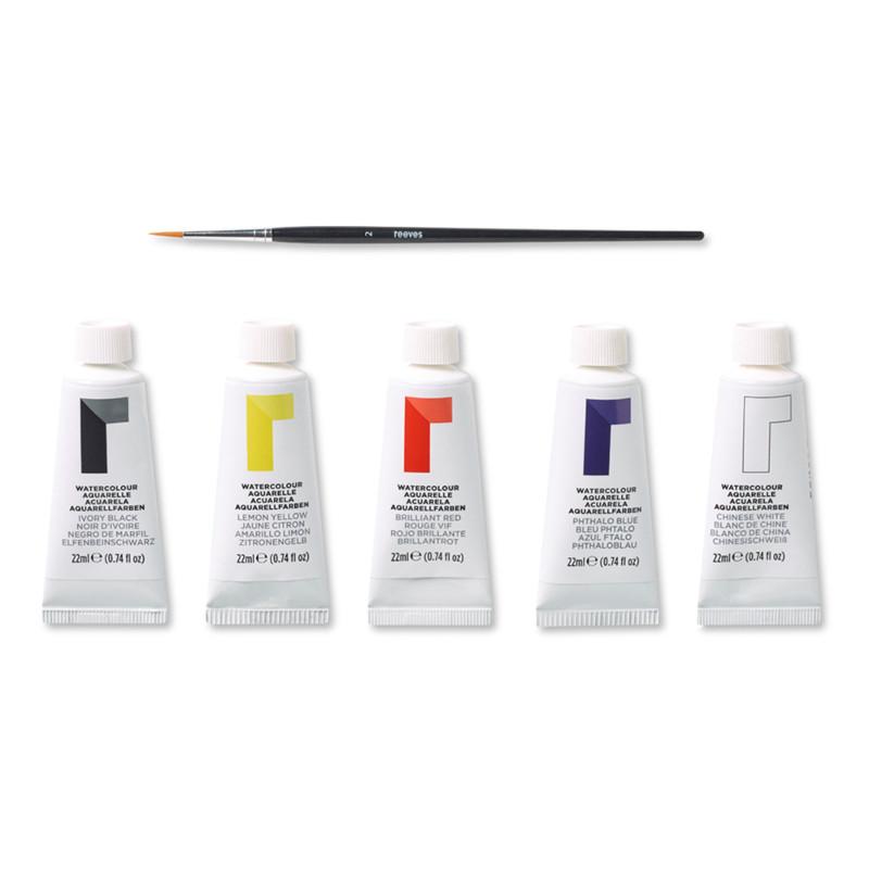 Akvarellset Reeves Blisterset 5 x 22 ml + pensel (6F)