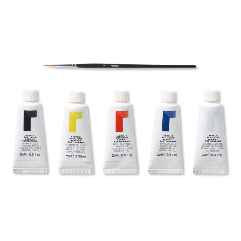 Akrylfärgset Reeves tubset 5x22ml + pensel (6F)