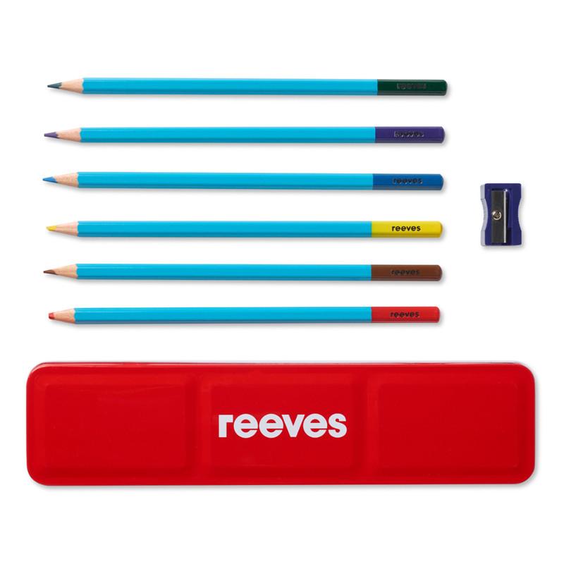 Akvarellpennset Reeves 6 st  i plåtask + vässare (6F)