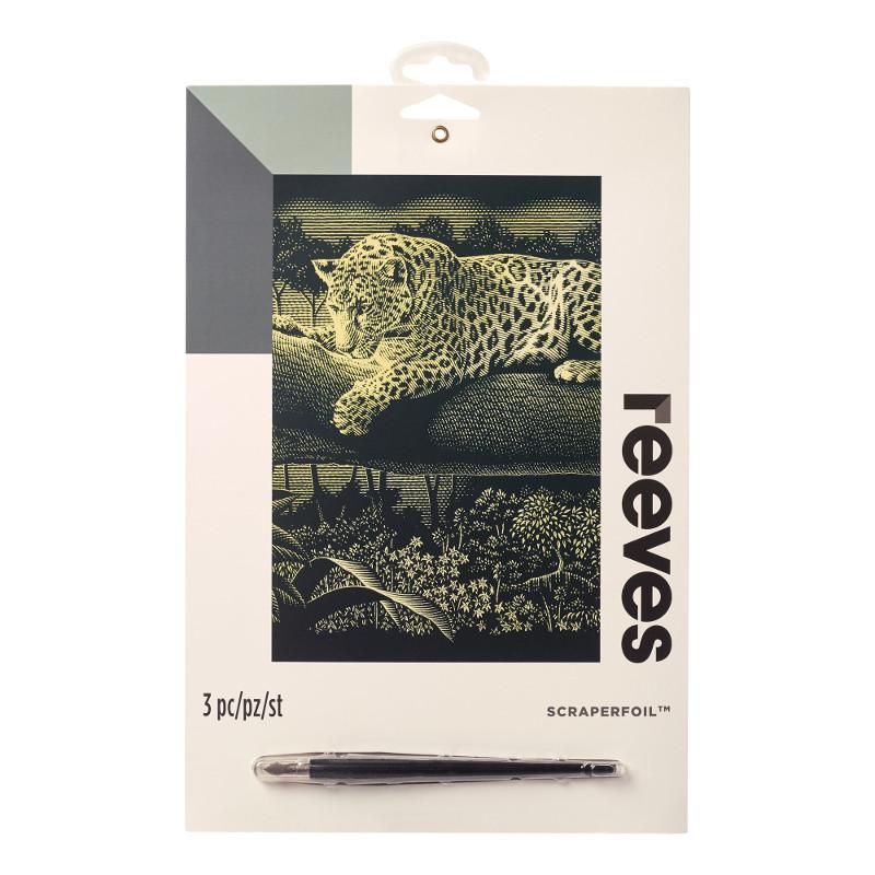 Skrapkonst Reeves 20x25cm Guld Leopard PPCF53 (6F)
