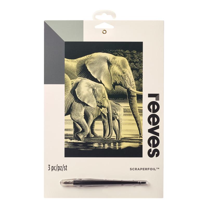 Skrapkonst Reeves 20x25cm Guld Elefant PPCF54 (6F)