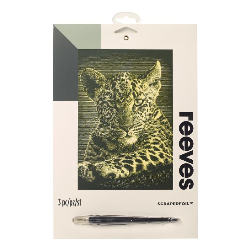 Skrapkonst Reeves 20x25cm Guld Leopardunge PPCF57 (6F)