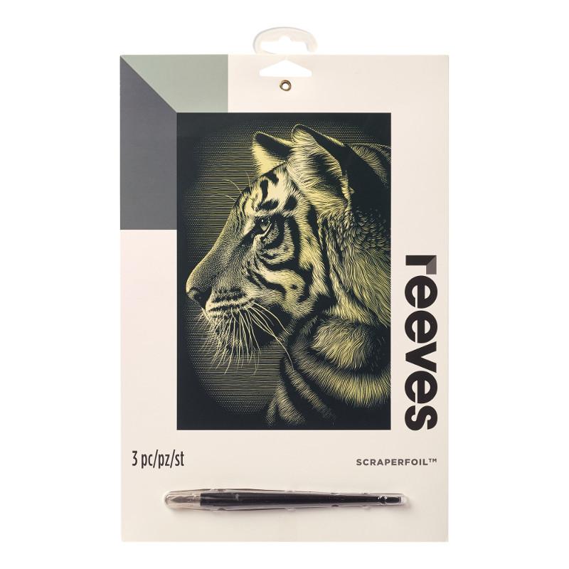 Skrapkonst Reeves 20x25cm Guld Tiger PPCF58 (6F)