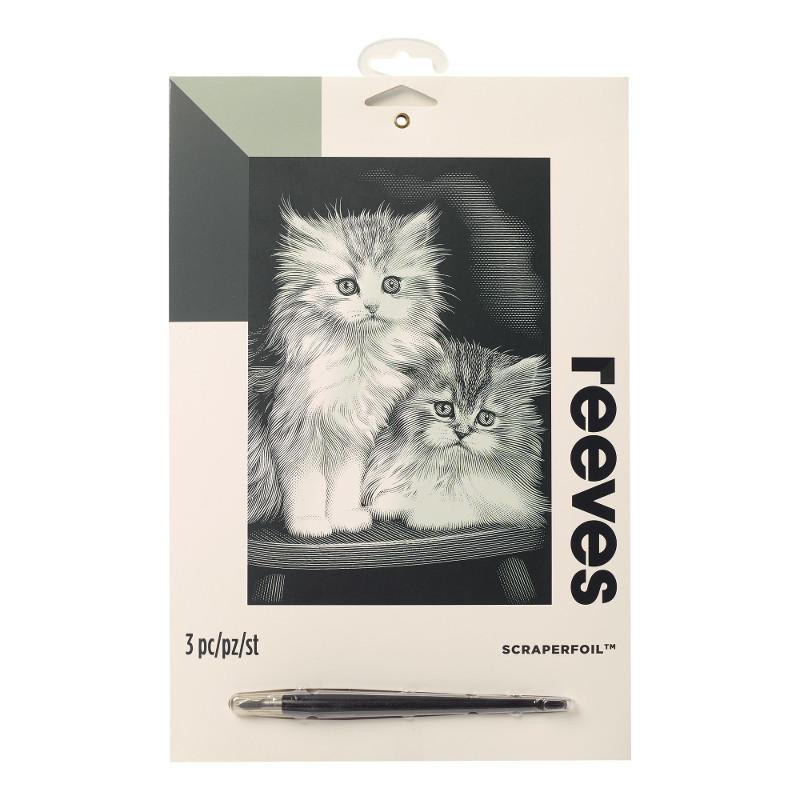 Skrapkonst Reeves 20x25cm Silver Fluffiga kattungar PPSF300 (6F)