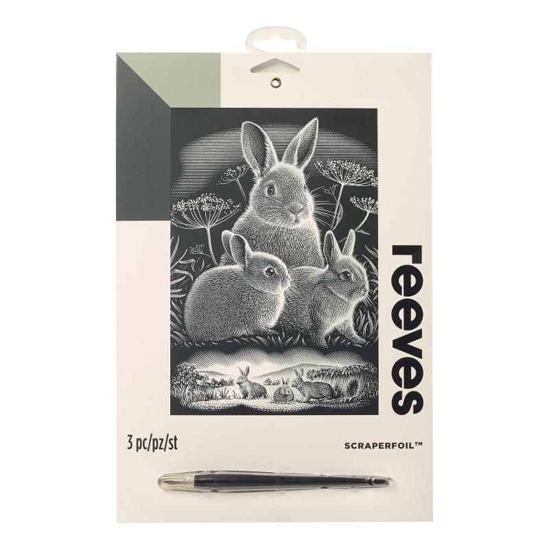 Skrapkonst Reeves 20x25cm Silver Kaniner  PPSF302 (6F)