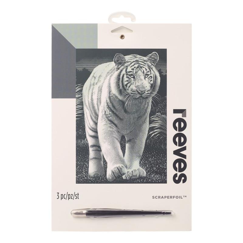 Skrapkonst Reeves 20x25cm Silver Vit tiger PPSF307 (6F)