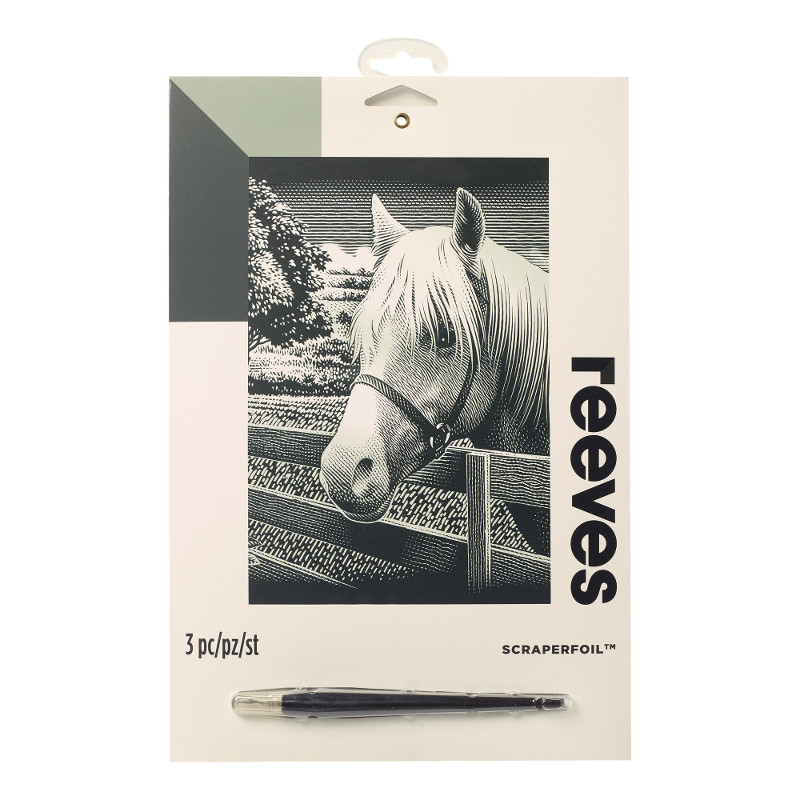 Skrapkonst Reeves 20x25cm Silver Hästhuvud PPSF309 (6F)