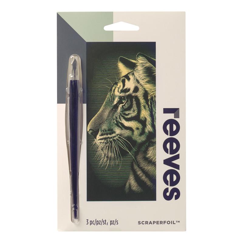 Skrapkonst Reeves 18x11cm Guld Tiger PPCFM62 (12F)
