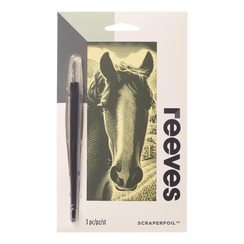 Skrapkonst Reeves 18x11cm Guld Häst PPCF66 (12F)