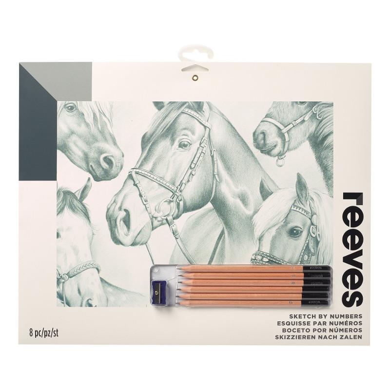 Måla efter nummer Reeves 30x40cm Blyertspennor Häst PPSK106 (12F)