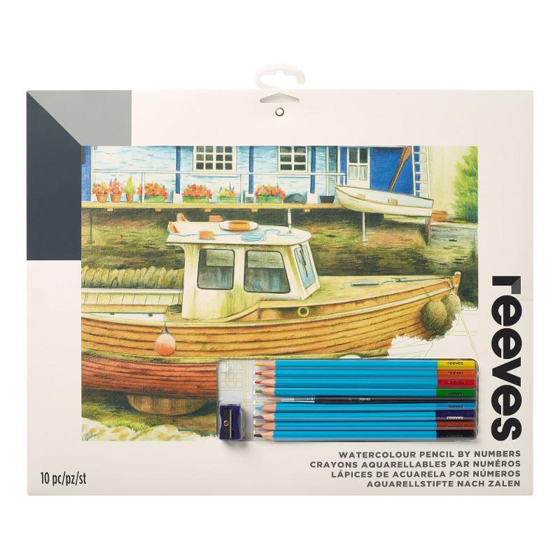 Måla efter nummer Reeves 30x40cm Färgpennor Båt på land PPWP9 (6F)