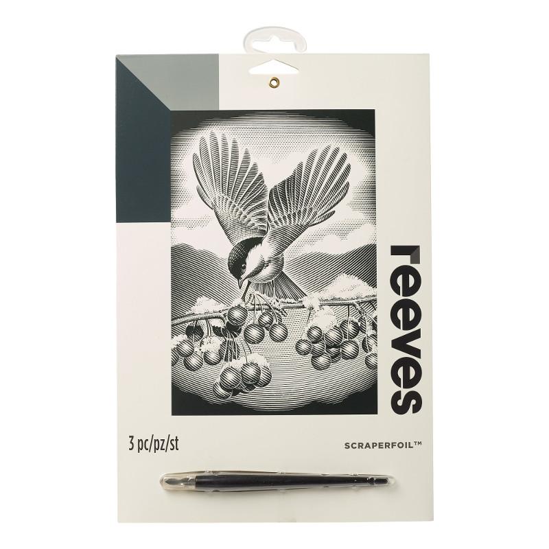 Skrapkonst Reeves 20x25cm Silver Bird with Berries PPSF59 (6F)