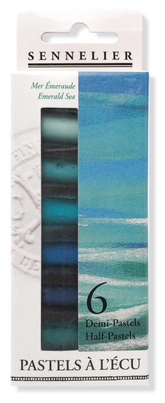 "Mjukpastell Sennelier Cardboard box - 6 1/2 pastel ""à lécu"" - Emerald Sea"