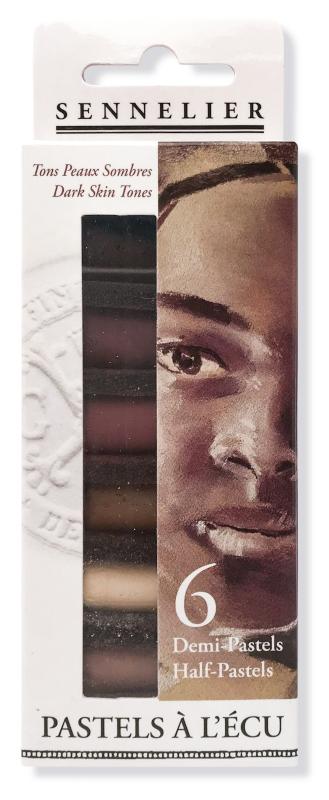 """Mjukpastell Sennelier Cardboard box - 6 1/2 pastel """"à lécu"""" - Dark Skin Tones"""