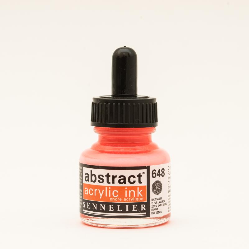 Akrylfärg Sennelier Abstract Acrylic Ink 30 ml Fluo Orange 648 (3F)