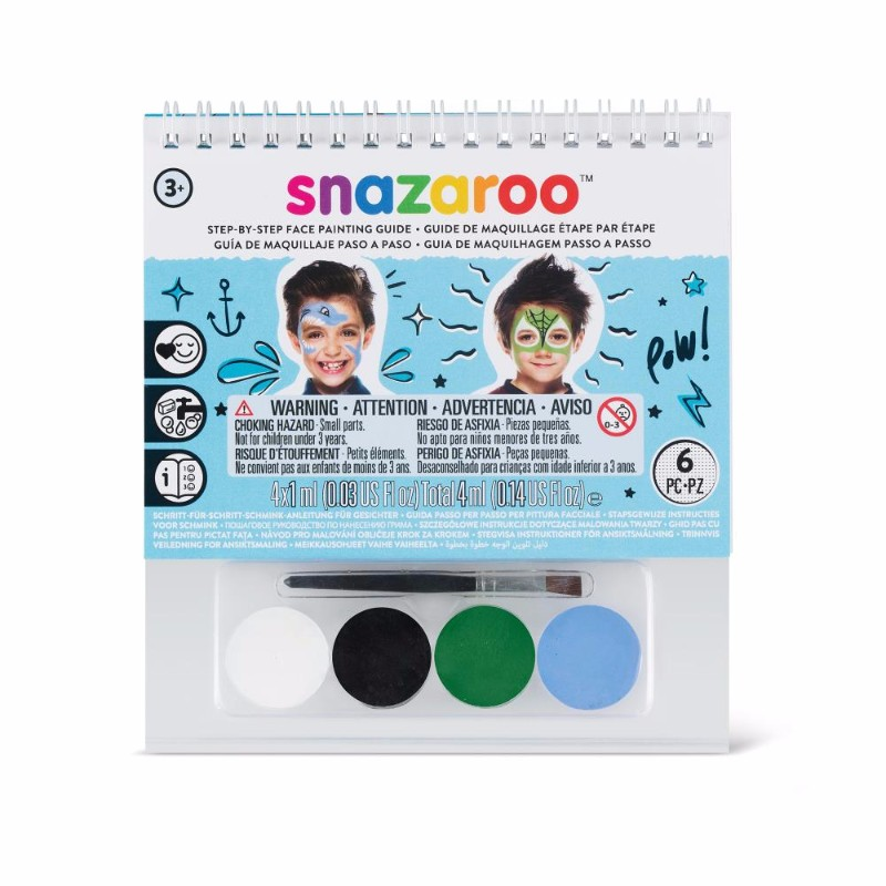 Ansiktsbok Snazaroo A6 Boy 4x1ml & pensel (6F) Utgår