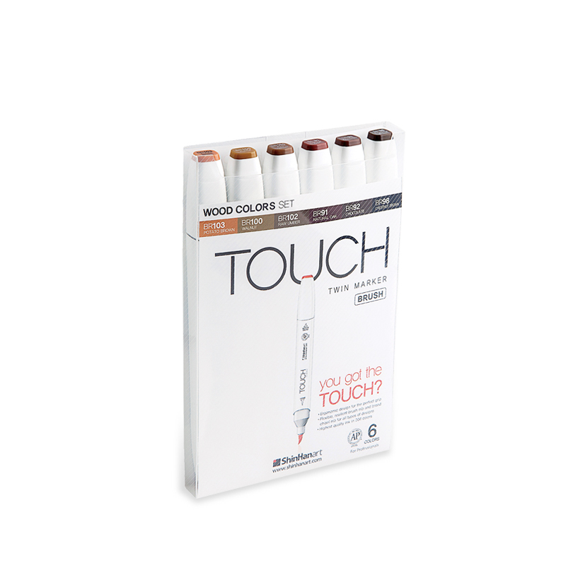 Touch Twin 6 BRUSH Marker Set [Wood Colors]