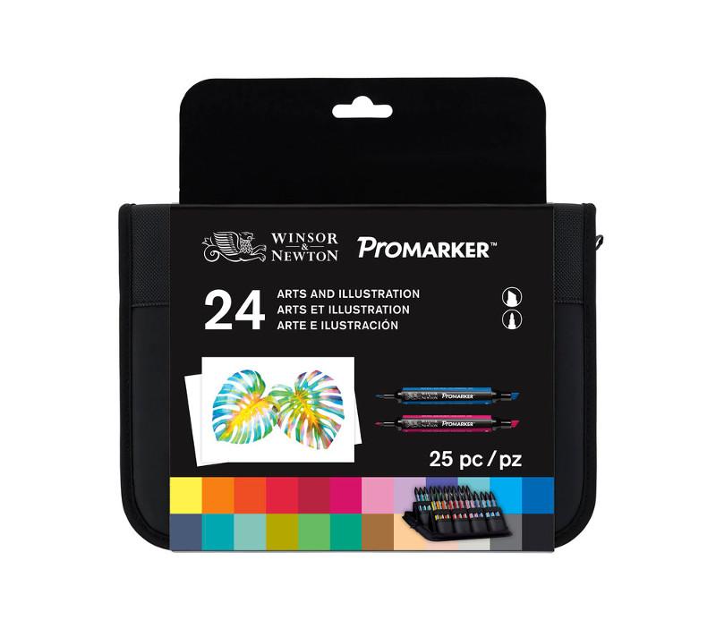 Promarkerset Winsor & Newton 24 Arts & Illustration Wallet set