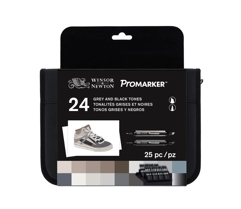 Promarkerset Winsor & Newton 24 Black & Greys Wallet set