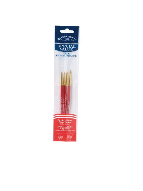 Syntetpenselset Winsor & Newton VALUE BRUSH PACK 4 GOLDEN SYNT (6F)