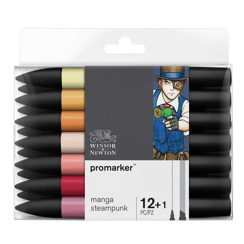 Promarkerset Winsor & Newton 12+ 1 Manga steampunk 0290056