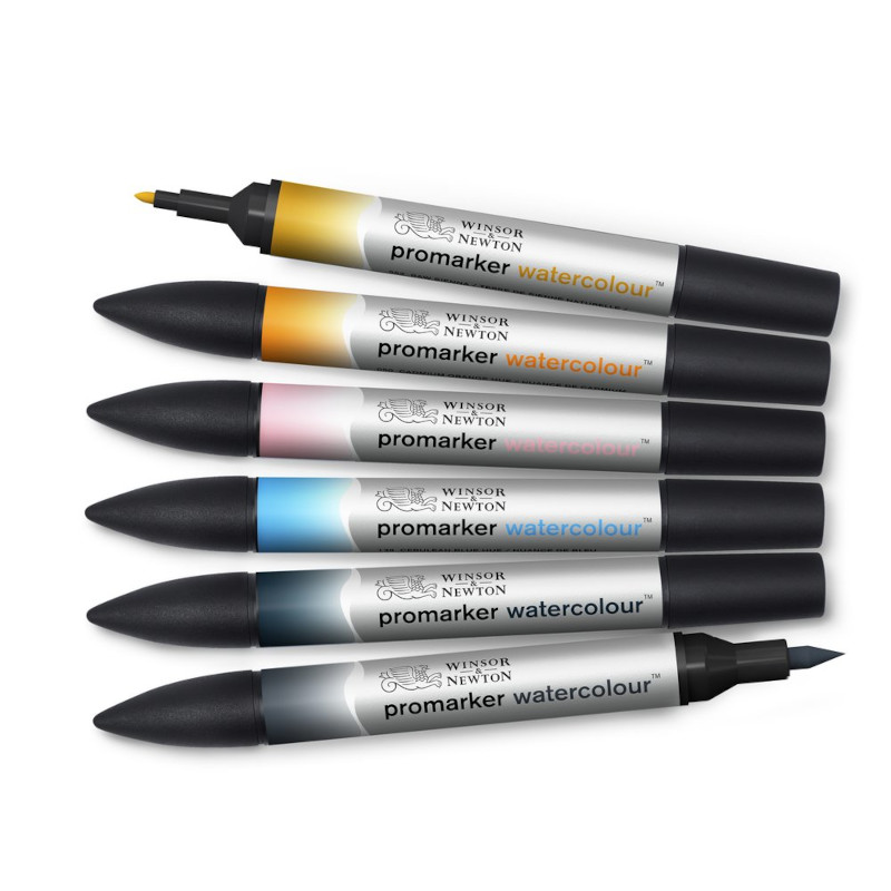 Akvarellmarkerset Promarker Watercolour Sky tones set 6