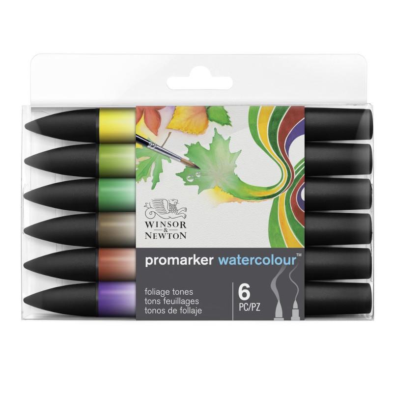 Akvarellmarkerset Promarker Watercolour Foliage tones set 6