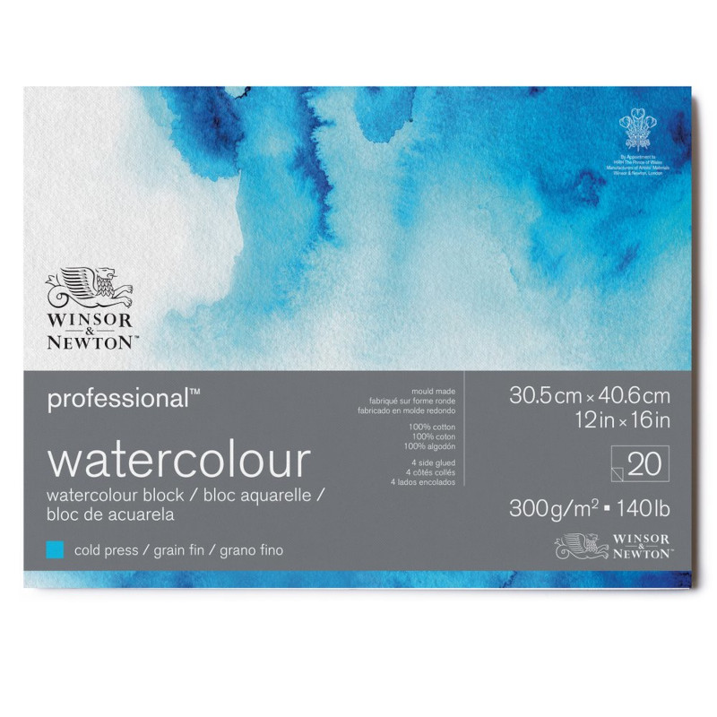 Akvarellblock Winsor & Newton Premium Cold Press 300g 31x41cm 20ark