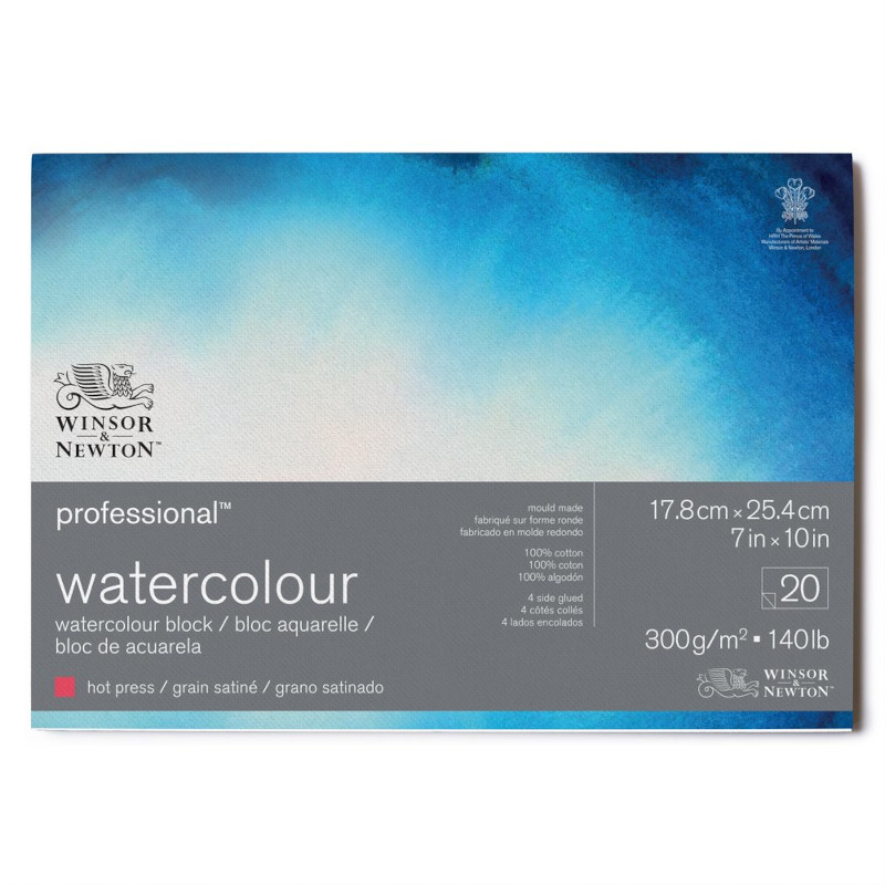 Akvarellblock Winsor & Newton Premium Hot Press 300g 18x26cm 20ark