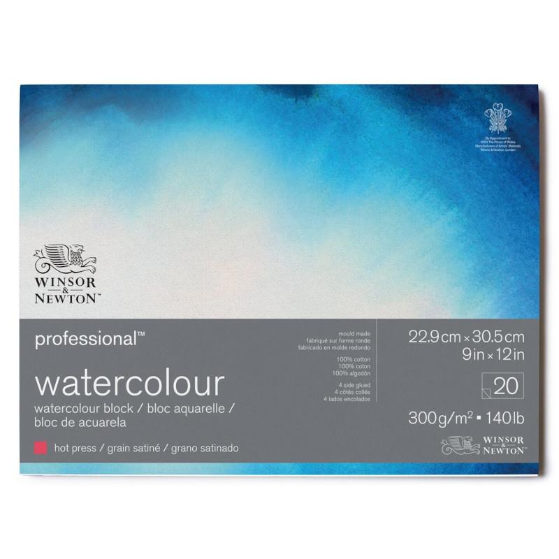 Akvarellblock Winsor & Newton Premium Hot Press 300g 23x31cm 20ark