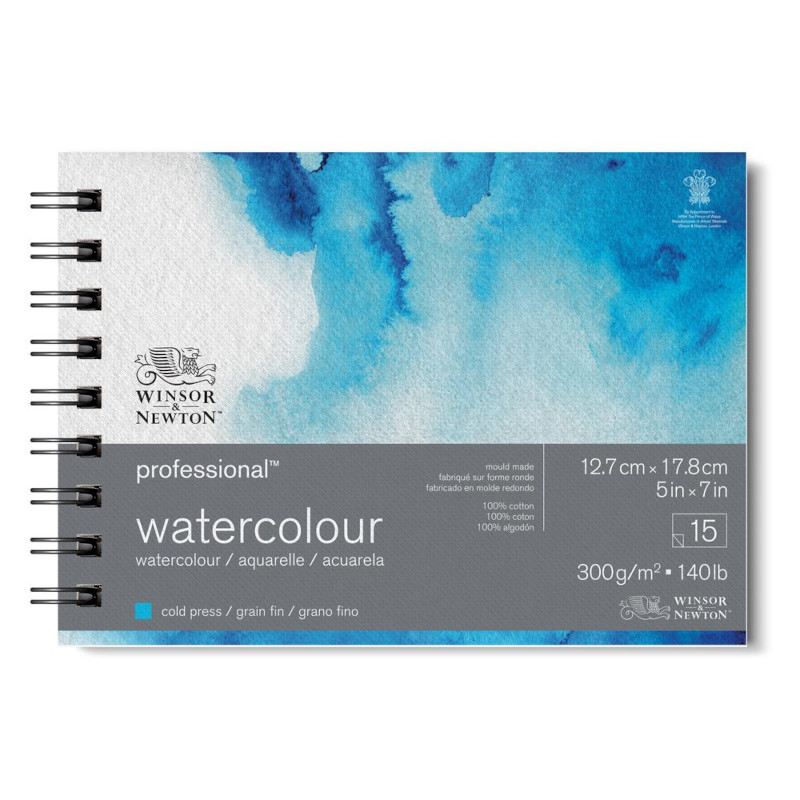 Akvarellblock Winsor & Newton Premium Spiral Cold Press 300g 13x18cm 15ark